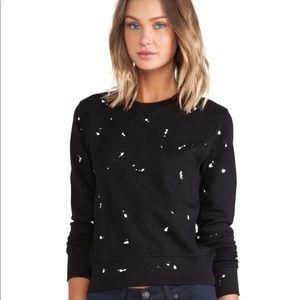 rag & bone Black Splatter Paint Sweatshirt Sz XS